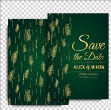 绿金色的结婚卡片