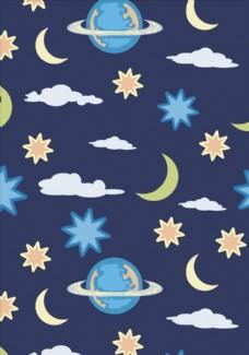 星星月亮星空底纹矢量图下载