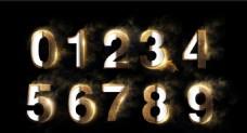 金色粉末立体数字