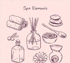 9款手绘spa元素矢量素材