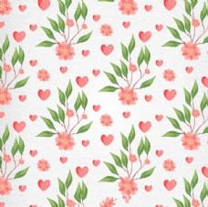 情人节水彩花卉图案
