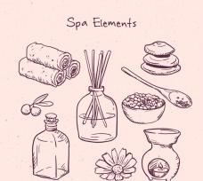 手绘spa元素图案
