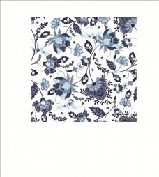 传统花卉花纹四方连续底纹