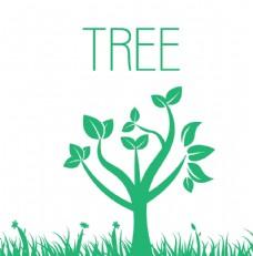 矢量绿树青草图案