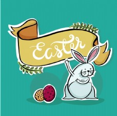 手绘搞笑兔子与复活节织带