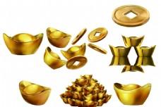 金银 财宝  金子 铜钱