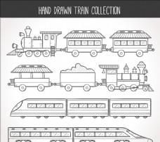 手绘素描火车集合