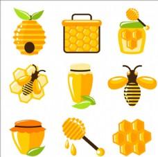 平面有机蜂蜜元素集