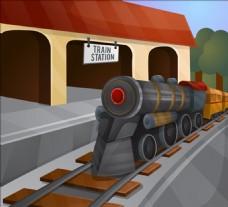 卡通老火车站插图