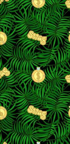 植物绿叶四方连续底纹金牌矢量图