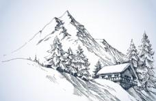 雪山脚下房屋素描