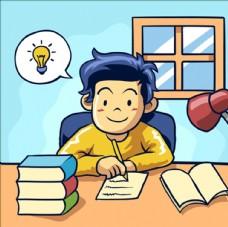 卡通儿童节学习的孩子