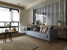 港式简约时尚客厅沙发背景墙设计图