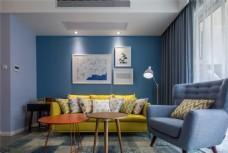 现代创意沙发背景墙设计图