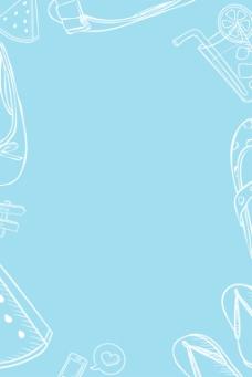 蓝色手绘美食清新简约商业海报背景