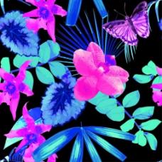 植物和蝴蝶底纹