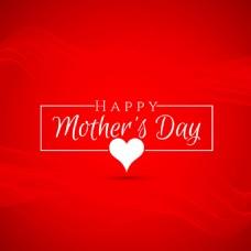 红色背景心形元素母亲节设计素材