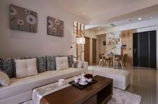港式时尚客厅茶几沙发背景墙设计图