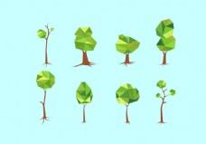 矢量创意多边形树木