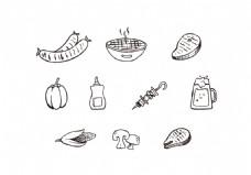 手绘线性烧烤图标