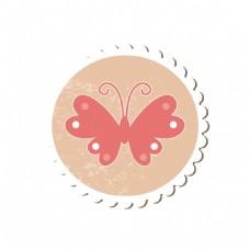 卡通蝴蝶圆形标签元素