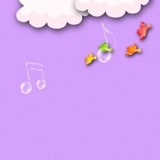 云朵音符小鸟