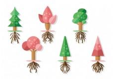 手绘创意多边形树木