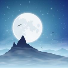 卡通雪山夜景EPS