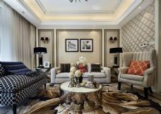 时尚客厅茶几沙发背景墙