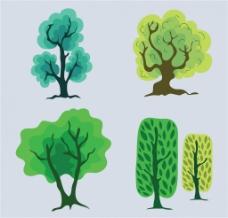 扁平手绘树木