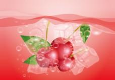矢量樱桃冰块素材