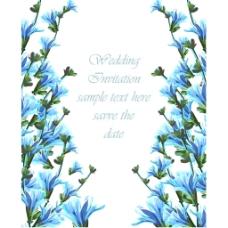 蓝色水彩风格花边婚礼邀请背景
