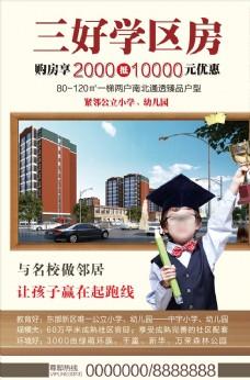 學區房房地產小區宣傳促銷海報