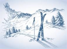 手绘素描雪山的滑雪板场景矢量素材下载
