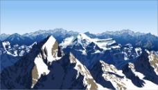 雪山景观插画矢量素材下载