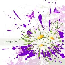 喷墨花卉素材背景