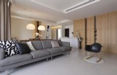 港式简约客厅沙发背景墙设计图