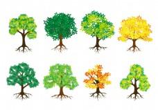 手绘矢量树木素材