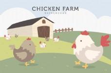 可爱的农场鸡背景矢量素材