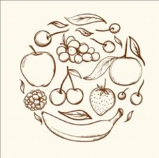 手绘线稿水果圆环