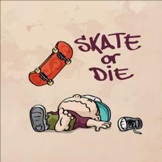 手绘卡通滑板运动海报