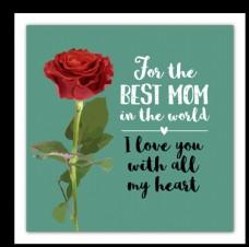 水彩绘玫瑰母亲节挂画矢量素材