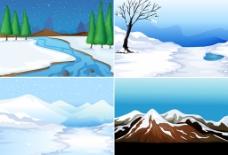 冰天雪地山峰风景矢量素材