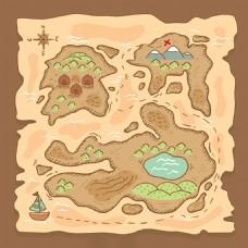写实风格小岛海盗船宝藏地图藏宝地图背景