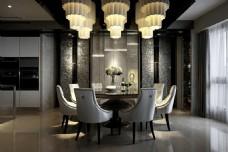 新中式时尚餐厅餐桌吊灯设计图