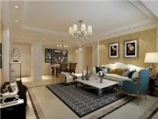 欧式时尚客厅沙发背景墙设计图