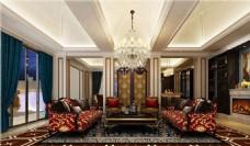 欧式豪华客厅沙发背景墙设计图