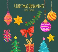 水彩圣诞装饰品