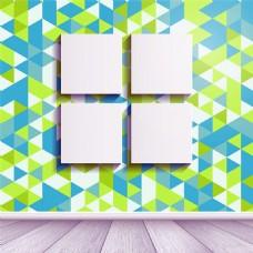 花纹墙壁上的4个空白挂画矢量图