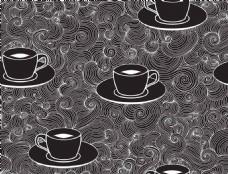 咖啡杯花纹背景